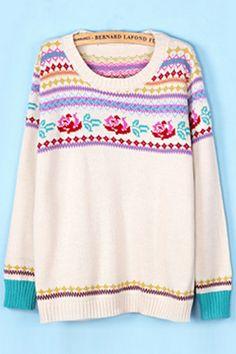 Classic Rose Jacquard Sweater OASAP.com
