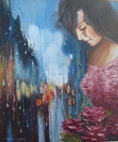 Oil Paint Romantic Series (Yağlıboya Romantic Seri) Impressionist Art, Impressionism, Romantic Series, Rain Art, Amazing Paintings, Woman Painting, Bold Colors, Lovers Art, Art Gallery