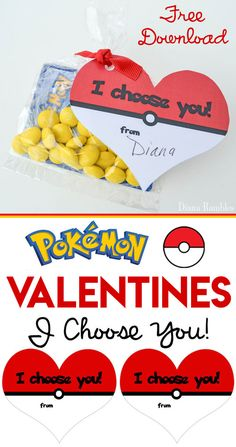 Pokémon Valentine Cards - Download these Free Pokemon Valentine Cards and print for your child to use in their Valentine's Card exchange at school or with friends. These fun cards have a Heart Shaped Poke Ball. Perfect for all Pokémon lovers! #Pokemon #Valentines #ValentinesDay #FreeDowload #ValentinesCards
