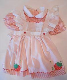 b46b61573d1 Vintage Baby Doll Red White Striped Dress w White Pinafore w  Strawberries  B15