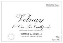 "GrapePip Auction: 2007 Volnay 1er Cru les Taillepieds, de Montille. Lot live in January 2015. Opening at £380 in bond per 10. ""...the phrase 'extract of liquid limestone' applies. Here the nose is also intensely floral...integrated with the cool, pure and airy red berry fruit aromas that introduce superbly detailed middle weight flavors...culminating in a...finish that is akin to rolling small pebbles around in your mouth. A classic Taillepieds built to age."" Burghound"