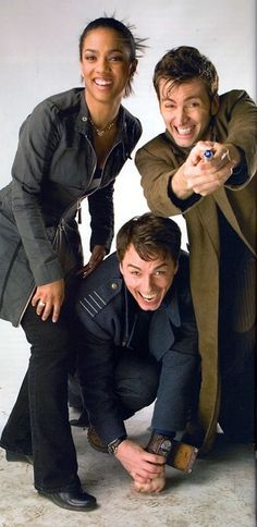Freema Agyeman, John Barrowman and David Tennant. Martha, Captain Jack and the tenth Doctor.