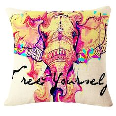 Elephant painting decorative cotton pillow office sofa cushion #pillows #animals #cushions #style #fashion #elephant