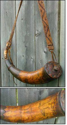 scrimshaw powder horns   animal scrimshaw powder horn 18th century powder horn with hand pinned ...