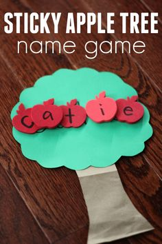 Sticky Apple Tree Name Game for Kids is a fun spelling game. Perfect letter recognition activity for toddlers and preschoolers to do this fall. Apple Activities, Fun Activities For Toddlers, Gross Motor Activities, Autumn Activities, Preschool Activities, Apple Games, Kindergarten Literacy, Preschool Classroom, Writing Activities