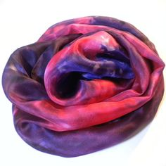 Hand Painted Silk Scarf in Pink and Purple Shades by SimplySilks, £25.00