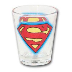 DC COMICS SUPERMAN GLITTER LOGO SHOT GLASS @ niftywarehouse.com #NiftyWarehouse #Superman #DC #Comics #ComicBooks