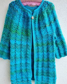 Little bit modified instructions, yarn Elian exklusiv, hook No. Blue Green, Chevron, Lace, Sweaters, Fashion, Moda, Fashion Styles, Racing, Sweater