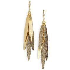 Rachel Reinhardt Triple Dagger Earrings (125 BRL) ❤ liked on Polyvore featuring jewelry, earrings, accessories, brincos, bijoux, 14k gold plated jewelry, 14 karat gold earrings, gold plated earrings, rachel reinhardt jewelry and 14k earrings