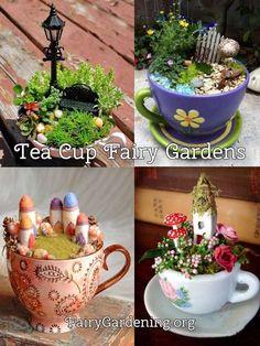 37 DIY Miniature Fairy Garden Ideas to Bring Magic Into Your Home - Mini Garden Mini Fairy Garden, Fairy Garden Houses, Fairy Gardening, Garden Pond, Teacup Crafts, Little Gardens, Garden Terrarium, Fairy Doors, Miniature Fairy Gardens