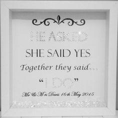 Wedding Gifts Personalised Wedding Frame by ElizabethsGiftFrames on Etsy - Diy Wedding Gifts, Personalized Wedding Gifts, Diy Gifts, Personalised Frames, Wedding Keepsakes, Bride Gifts, Wedding Boxes, Wedding Frames, Wedding Cards