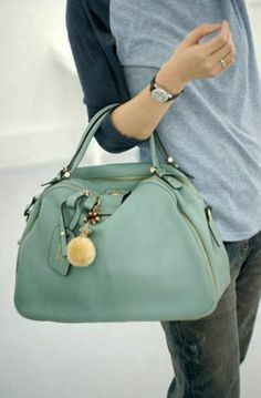 Vintage Style Sweet Blue Casual Leather Tote Bag
