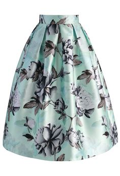 Garden of Peony Printed Midi Skirt - Skirt - Bottoms - Retro, Indie and Unique Fashion