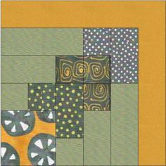 Half Log Cabin variation quilt block Tutorial version 1 of 2