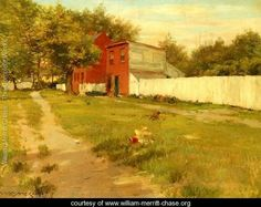 The White Fence Painted by:William Merritt Chase Dimensions:24.02 inch wide x 18.11 inch high