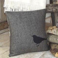 ' Blackbird ' Tweed Cushion - home sale