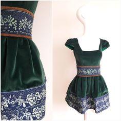 True Blue by Jana Gavalcova / green velvet dress / blueprint / Slovakia - Bratislava Green Velvet Dress, Bratislava, Folklore, Indigo, Two Piece Skirt Set, Summer Dresses, Skirts, Blue, Fashion