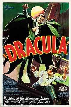 A poster for the 1931 Dracula movie starring Bela Lugosi. I love old horror films, and their posters work great as decorations for Halloween! BIG FAN OF DRACULA. Posters Vintage, Old Movie Posters, Retro Poster, Classic Movie Posters, Classic Horror Movies, Poster Poster, Horror Vintage, Retro Horror, Scary Movies