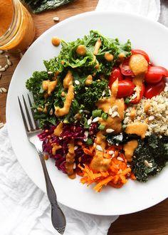 Vegan Kale Quinoa Bowl with Peanut Dressing | thekitchenpaper.com