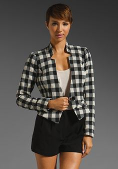 TRACY REESE Gingham Jacquard Tiny Peplum Jacket in Black at Revolve Clothing - Free Shipping!