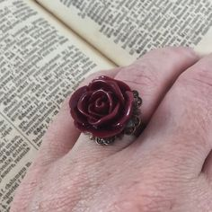 Vintage Inspired Burgundy Flower Statement Ring // Adjustable Ring by MonicaRudyJewelry