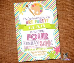 Painting Party Invitation Birthday Art Party by ZoeyBlueDesigns