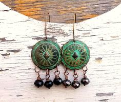 Verdigris Patina Copper Earrings with black by TheBeadedPaths, $18.00