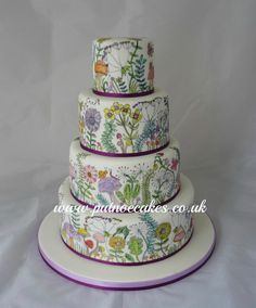 Mindfulness hand drawn and painted adult colouring book wedding cake