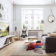 Sala de estar descontraída com quadro em canvas apoiado no chão | https://www.onthewall.com.br/being-normal-is-boring #decoração #quadros #canvas #sala