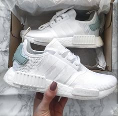 adidas Originals NMD in white-turquise / white-turquoise // Photo: fabialamode (Inst . adidas Originals NMD in white-turquise / white-turquoise // Photo: fabialamode (Inst . Moda Sneakers, Sneakers Mode, Sneakers Fashion, Sneakers Adidas, Nike Women Sneakers, Cute Addidas Shoes, Adidas Nmd R1, Fashion Socks, Women Nike