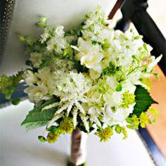 garden inspired bridal bouquet - astilbe, larkspur, freesia, hydrangea, ranunculus, and buplerum, by Bouquets of Austin