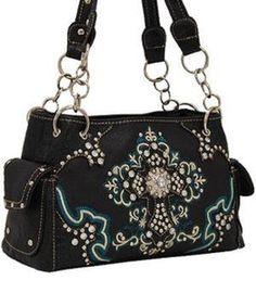 Black Studded Cross Shoulder Bag with Rhinestone - Super Cute!