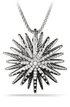David Yurman 'Starburst' Large Pendant with Diamonds on Chain (=)