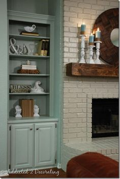 Fireplace remodel- built in shelves and fireplace beam. Fireplace Beam, White Fireplace, Fireplace Remodel, Fireplaces, Coastal Living Rooms, New Living Room, Home And Living, Built In Shelves, Built Ins
