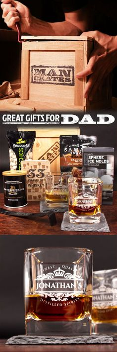 Is your Dad a true whiskey man? Help him flaunt his gravitas this Father's Day with the Personalized Whiskey Man Crate, the pinnacle of sophistication. We laser etch his name into square whiskey glasses so no one will forget whose sophisticated jazz flute skills they were admiring all night, and the matching slate coasters will make him feel Don Draper with every sip.