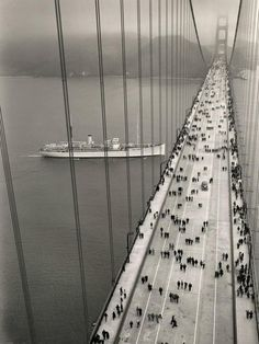 Foot traffic on the Golden Gate Bridge moments after opening in 1937.