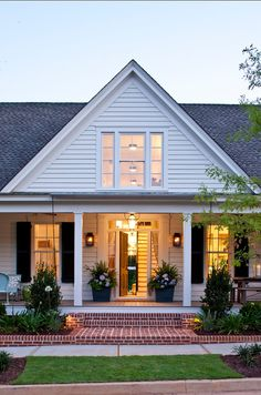 white farmhouse with lantern exterior lights - Google Search