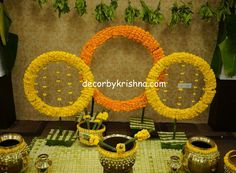 DecorbyKrishna is taking orders for eco-friendly home based events decor, like pellikooturu, Mehendi Desi Wedding Decor, Diy Wedding Backdrop, Wedding Stage Decorations, Backdrop Decorations, Flower Decorations, Diwali Decorations At Home, Backdrops, Mehendi Decor Ideas, Mehndi Decor