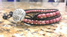 Pink Rhondonite Crystal Healing Double Wrap Bracelet with Tree of Life Button by DoubleDeesigns on Etsy
