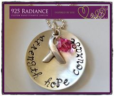 Hand Stamped Jewelry  Breast Cancer Awareness  by 925RADIANCE, $55.00
