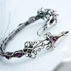 Bracelet   Sarah Thompson.  Sterling and fine silver, Rhodolite Garnets
