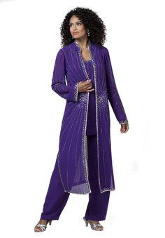 Starbust Beaded Pantsuit | Plus Size Special Occasion | Roamans
