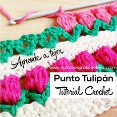 Cómo tejer el punto tulipán al crochet / Tutorial en video | Crochet y Dos agujas