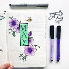 Bullet journal monthly cover page, May cover page, flower drawings. | @tonisjournal