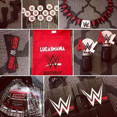 This party theme is so much fun for your WWE obsessed kiddo. Items shown for this listing: Banner Color Coordinating Name Or Age Table Top Decor/ Centerpieces Cake/ Cupcake Toppers Favor Tags or Bags VIP Pass Invites Custom Themed Shirt Water Bottle Labels You may order this in a Wrestling Birthday Parties, Diva Birthday Parties, Wrestling Party, Wwe Birthday, Happy Birthday Banners, Birthday Party Favors, Birthday Party Decorations, Wwe Cake, Wwe Party