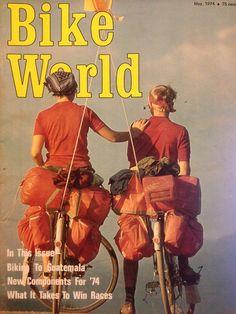 May 1974 Bike World:  June and Greg Siple on Hemistour by ddsiple, via Flickr    #biketouring #bicycletravel