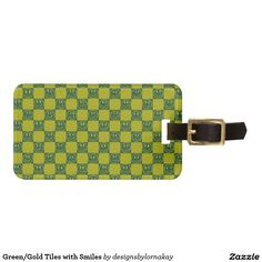 Green/Gold Tiles with Smiles Bag Tag
