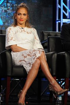 Jennifer Lopez in Lover paired with Jimmy Choo pumps attends the Winter TCA Tour. #bestdressed