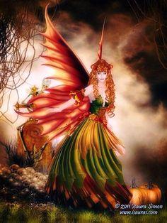 Autumn fairy images and artwork Fairy Dust, Fairy Land, Fairy Tales, Magical Creatures, Fantasy Creatures, Illustration Fantasy, Dragons, Kobold, Autumn Fairy