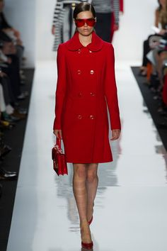 A red coat will be one of the hero pieces of your closet for years to come!  And the rounded collar is pretty wonderful.  #Michael Kors